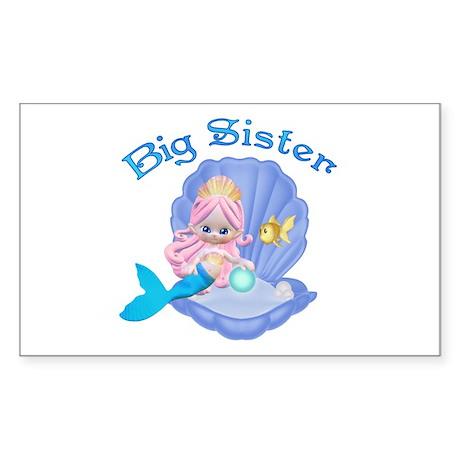 Lil Mermaid Big Sister Rectangle Sticker