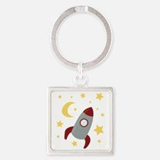 Rocket In Space Keychains