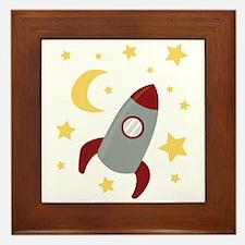 Rocket In Space Framed Tile
