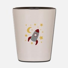 Rocket In Space Shot Glass
