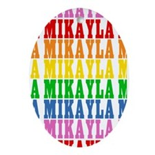 Rainbow Name Pattern Ornament (Oval)