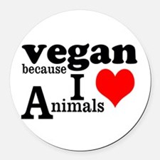 Vegan Round Car Magnet