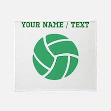 Green Volleyball (Custom) Throw Blanket