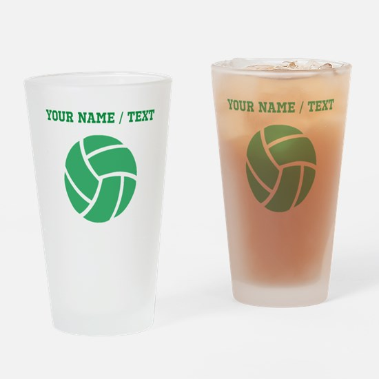 Green Volleyball (Custom) Drinking Glass