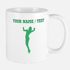 Green Volleyball Serve Silhouette (Custom) Mugs