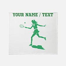 Green Tennis Player (Custom) Throw Blanket