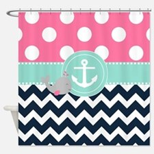 Pink Navy Whale Chevron Shower Curtain