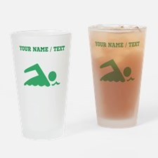 Green Swimmer (Custom) Drinking Glass