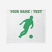 Green Soccer Player Silhouette (Custom) Throw Blan