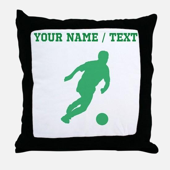 Green Soccer Player Silhouette (Custom) Throw Pill