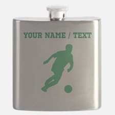 Green Soccer Player Silhouette (Custom) Flask