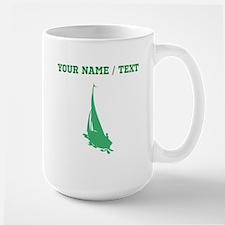 Green Sail Boat Silhouette (Custom) Mugs