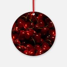 Dark Red Cherries Round Ornament