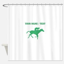 Green Horse Racing Silhouette (Custom) Shower Curt