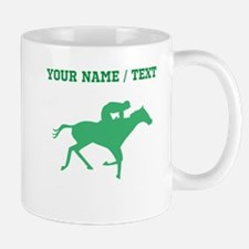 Green Horse Racing Silhouette (Custom) Mugs