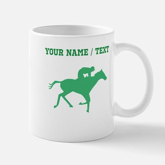 Green Horse Racing Silhouette (Custom) Mugs