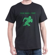 Green Football Player Silhouette (Custom) T-Shirt