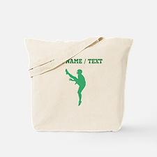Green Football Punter Silhouette (Custom) Tote Bag