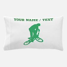 Green BMX Biker Silhouette (Custom) Pillow Case