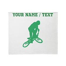 Green BMX Biker Silhouette (Custom) Throw Blanket