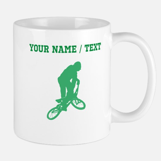 Green BMX Biker Silhouette (Custom) Mugs