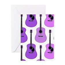 Purple Acoustic Guitars Pattern Greeting Card