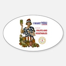 """""""Fruits and Vegetables"""" Oval Decal"""