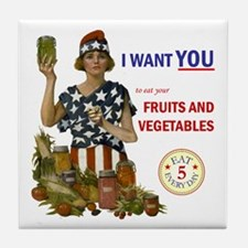 """Fruits and Vegetables"" Tile Coaster"