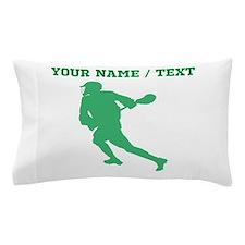 Green Lacrosse Player (Custom) Pillow Case