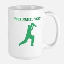 Green Cricket Player (Custom) Mugs