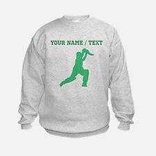 Green Cricket Player (Custom) Sweatshirt