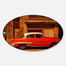 Classic Red American car at Dawn, H Sticker (Oval)