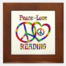 Peace Love Reading Framed Tile