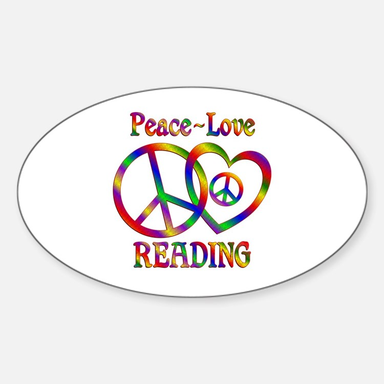Peace Love Reading Sticker (Oval)