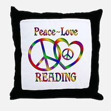 Peace Love Reading Throw Pillow