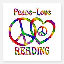 "Peace Love Reading Square Car Magnet 3"" x 3"""