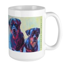 Ronni And Tedo The Rottweiler Dogs, Large Mugs