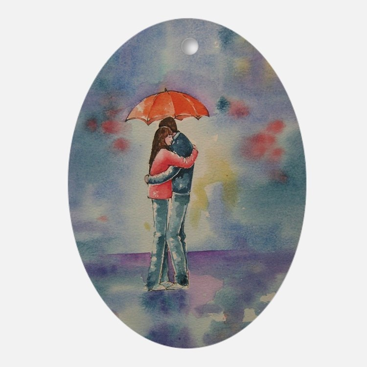 Cute Couples Oval Ornament
