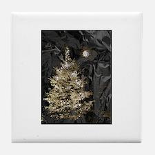 Christmas Tree and Moon on Metal Tile Coaster