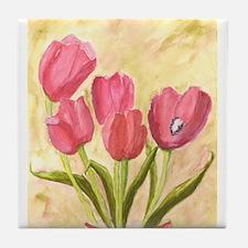 Watercolor Tulips Tile Coaster