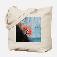 Waterfall with Birds Tote Bag