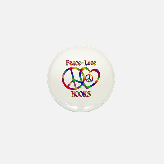 Peace Love Books Mini Button