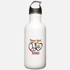 Peace Love Books Water Bottle