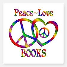 "Peace Love Books Square Car Magnet 3"" x 3"""