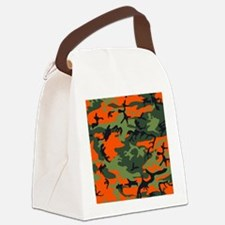 Orange and Green Camo Canvas Lunch Bag