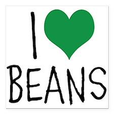 "I Love Beans Square Car Magnet 3"" x 3"""