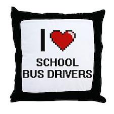 I love School Bus Drivers Throw Pillow