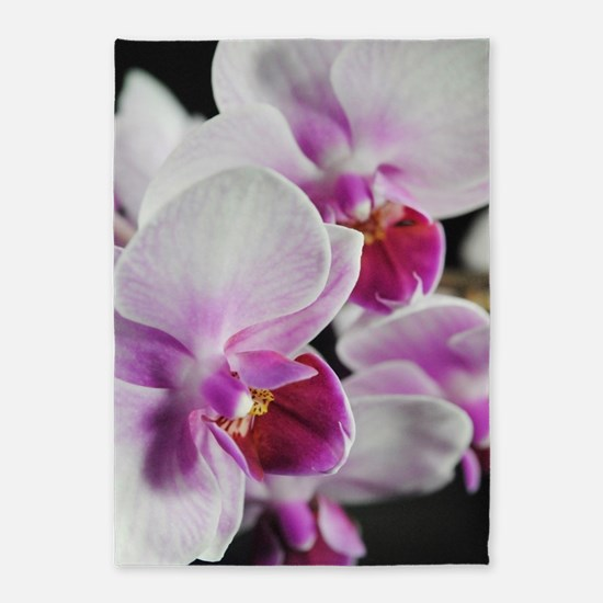 Two Pink White Orchids 5'x7'Area Rug