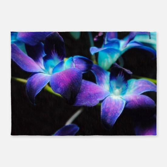 Two Purple Orchids 5'x7'Area Rug
