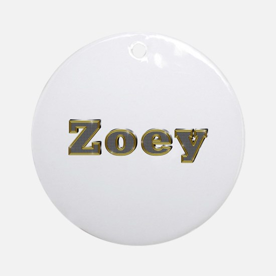 Zoey Gold Diamond Bling Round Ornament